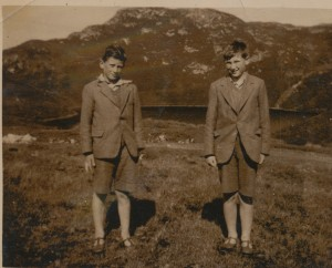 Eoin and Laurence in front of Lough Salt in suits c 1937 copy
